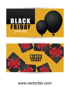 black friday sale letterings banner with gifts in yellow background