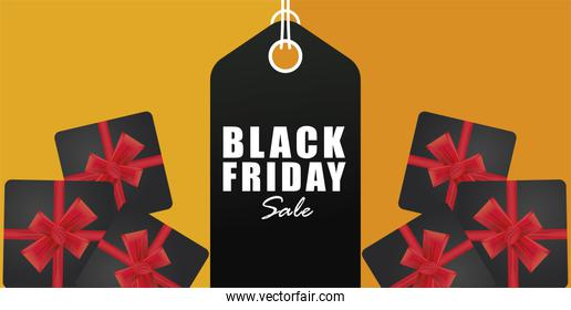 black friday sale banner with tag hanging and gifts