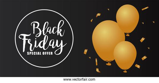 black friday sale lettering in circular frame with golden balloons helium