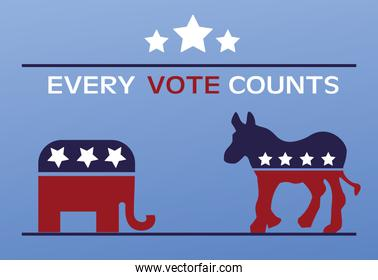 usa elections day poster with flag in donkey and elephant