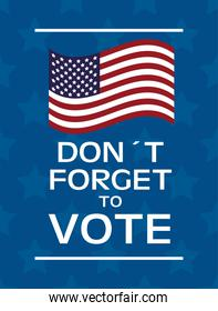 usa elections day poster with flag and lettering