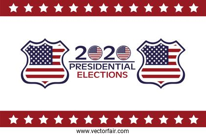 usa elections day poster with flag in shields and lettering