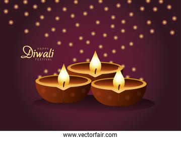happy diwali celebration with three candles wooden and lights