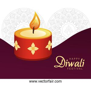 happy diwali celebration with red candle