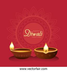 happy diwali celebration with two candles wooden in red background