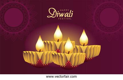 happy diwali celebration with four candles wooden in purple background