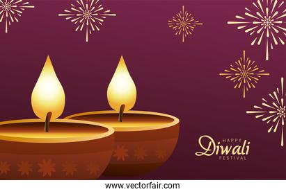 happy diwali celebration with two candles wooden in purple background