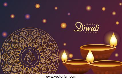 happy diwali celebration with three candles wooden and golden mandala
