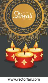 happy diwali celebration with three red candles and golden mandala