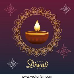 happy diwali festival with candle wooden in mandala