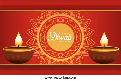 happy diwali celebration with two candles wooden and golden mandala