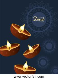 happy diwali celebration with four candles wooden