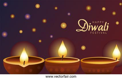 happy diwali celebration with three candles wooden in purple background