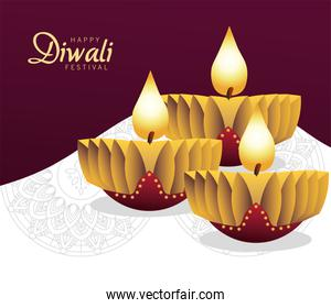 happy diwali celebration with two candles wooden