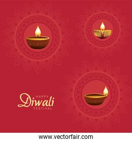 happy diwali celebration with three candles wooden in red background
