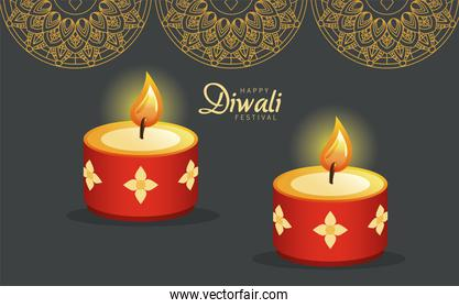 happy diwali celebration with two red candles