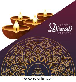 happy diwali celebration with four candles wooden and golden mandala