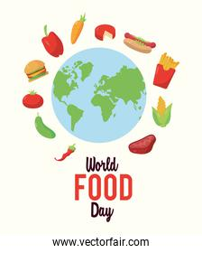 world food day lettering poster with food around of earth planet