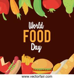 world food day lettering poster with food frame