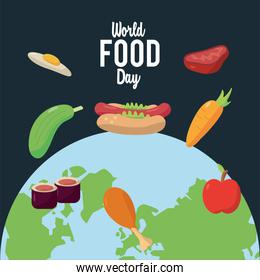 world food day lettering poster with earth planet and nutritive food