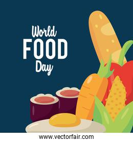 world food day lettering poster with nutritive food