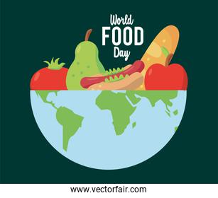world food day lettering poster with food in earth planet