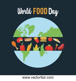 world food day lettering poster with food and earth planet