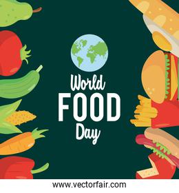world food day lettering poster with food frame and earth planet