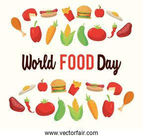 world food day lettering poster with nutritive food frame