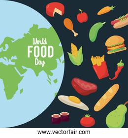 world food day lettering poster with earth planet and food pattern