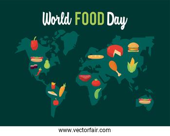 world food day lettering poster with earth planet maps