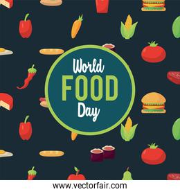 world food day lettering cartel with food pattern