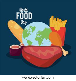 world food day lettering poster with planet earth and delicious food