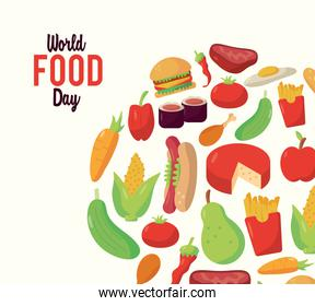 world food day lettering poster with food circular frame
