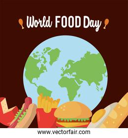 world food day lettering poster with earth planet and food