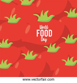 world food day lettering poster with tomatoes pattern