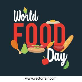 world food day lettering poster with blue background