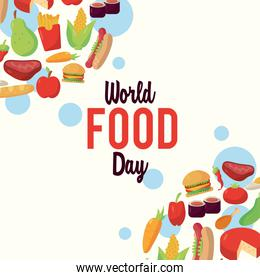 world food day lettering poster with pattern food