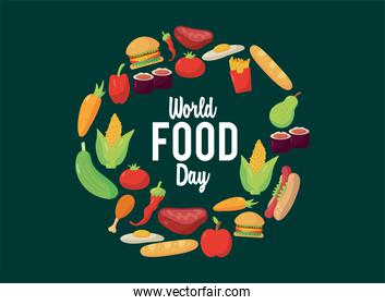 world food day lettering poster with food in circular frame