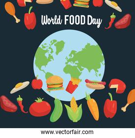 world food day lettering poster with earth planet and set food