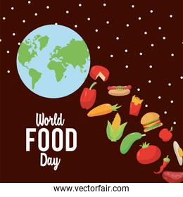 world food day lettering poster with earth planet and delicious food