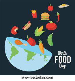 world food day lettering poster with earth planet half and nutritive food