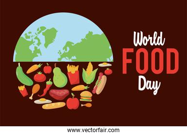 world food day lettering poster with earth planet half and food