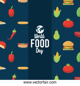 world food day lettering poster with food pattern