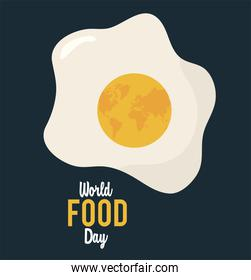 world food day lettering poster with egg fried