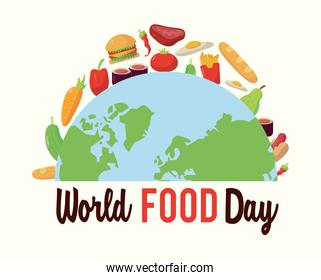 world food day poster with earth planet half and food