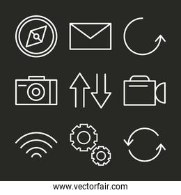 user interface set icons compass, email, update and more linear style