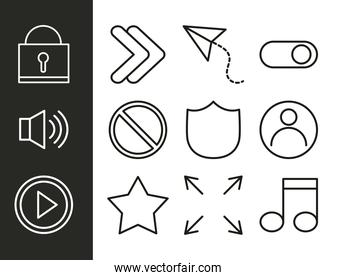 user interface collection icons operating system technology linear style