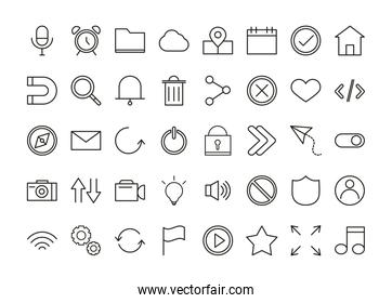 set of user interface icons, mobile app button media and navigation linear style