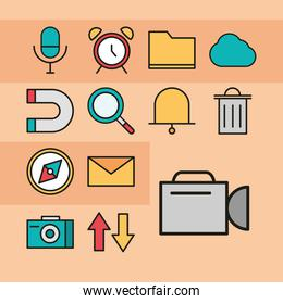 user interface set icons microphone clock email and more linear and fill style
